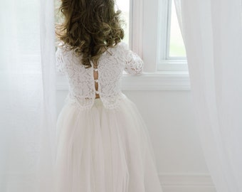 ba13b91a2065 Two Piece High Waist Tutu Skirt, Romantic White Lace Flower Girl Dress, Boho  Beach Wedding, Crochet, Bohemian, Cream Champagne Ivory Tulle