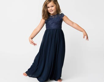 2a5ad787ad6 Navy Floor Length Flower Girl Dress