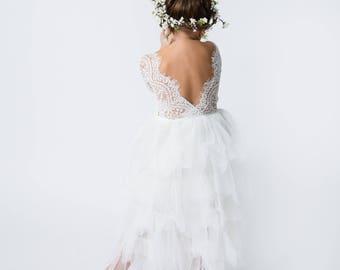 46915ecaf50 White Lace Flower Girl Dress