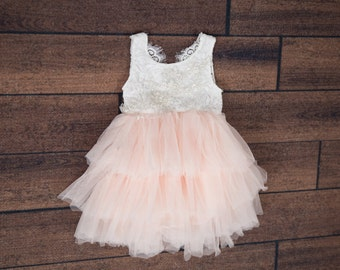 3a892288a5fb9 White Lace Flower Girl Dress, Blush Pink Tulle Wedding Gown, Boho Chic  Princess Tutu, Country Crochet, Couture, Beach Wedding