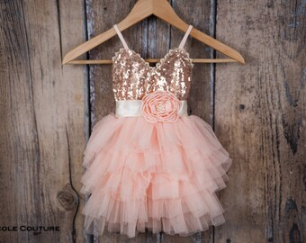 3e2aa5cf45 Rose Gold Sequin Dress Blush Pink Tulle Flower Girl Dress