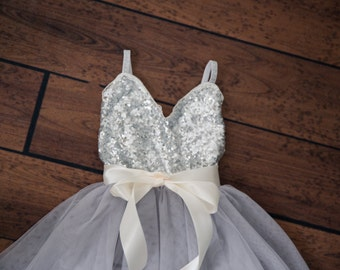 4cbc40c489 Silver Tulle Flower Girl Dress
