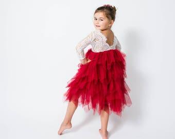 fe6650ce033b White Lace Flower Girl Dress Dark Red Tulle Long Sleeve