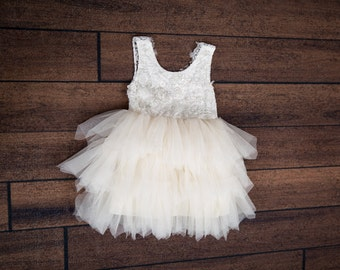 95fdae960 White Lace Infant Flower Girl Dress, Baby Toddler Tulle Wedding Gown, Cream  Tutu Princess Dress, Elegant Boho Chic Beach Wedding