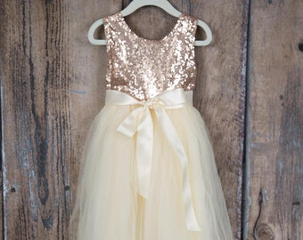 Ivory Cream Flower Girl Dress, Rose Gold Sequin Top, Floor Length Dress, Elegant Wedding, Tutu Dress, Ball Gown, Boho Chic, Couture Style