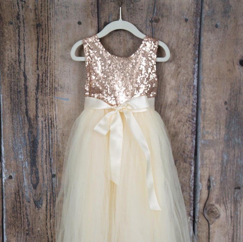 67b165f5f0f3 Ivory Cream Flower Girl Dress Boho Chic Rose Gold Sequin