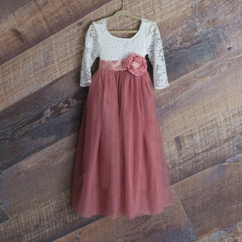 Dusty Rose Blume Mädchen Kleid Mauve Langarm Ballkleid   Etsy