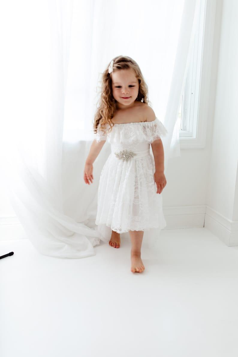 Bohemian White Flower Girl Dress High Low Dress Boho Tulle Dresses Grecian Off The Shoulder Wedding Dress