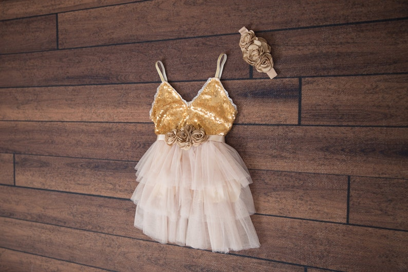 ec0484b7a Champagne Flower Girl Dress Ball Gown Gold Sequin dress | Etsy