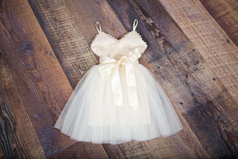 Teen Ivory sequin dress Gown glitter Ivory tutu dress Cream Wedding Size 14 Flower Girl Dress Ivory Cream Tulle Sash Belt set