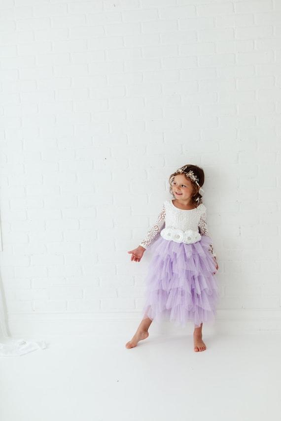 Lilac Tulle Flower Girl Dress,  Lavender Boho Dres
