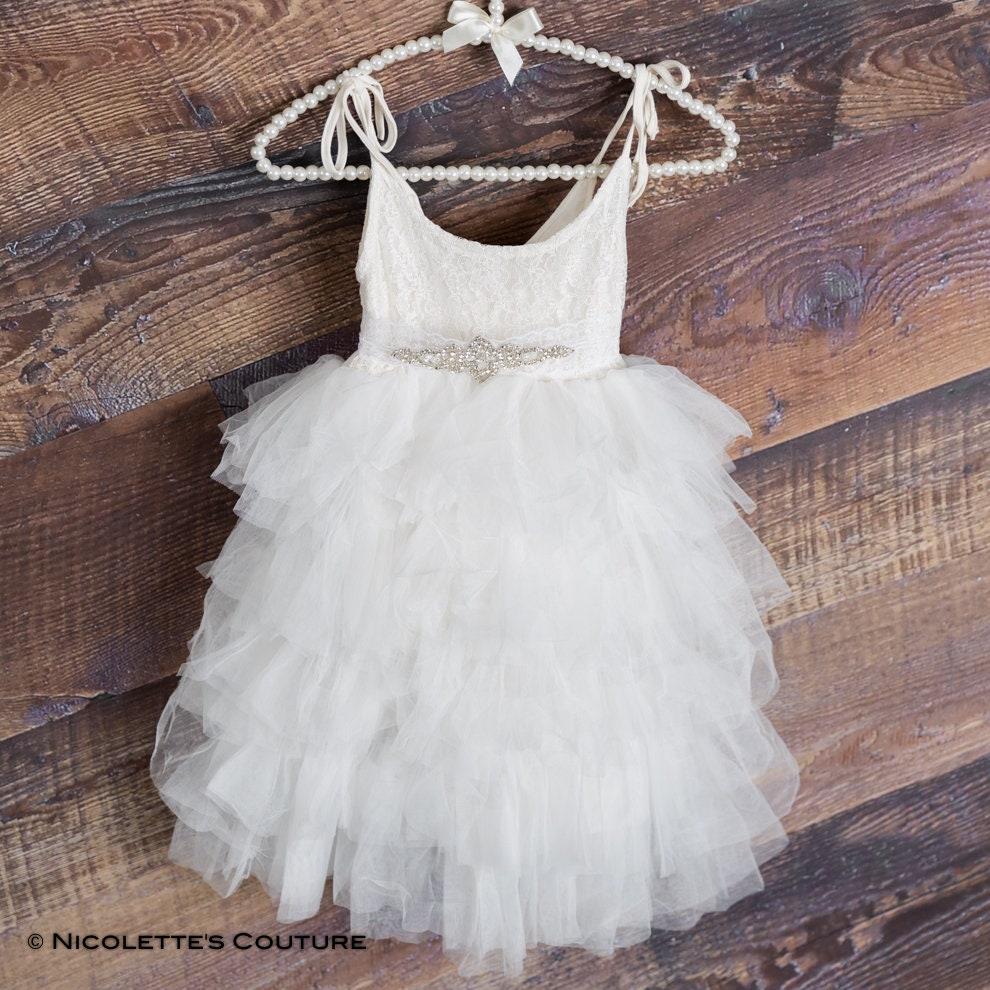 e84ce3f6a857d Dentelle blanche robe Communion première enfant en bas âge