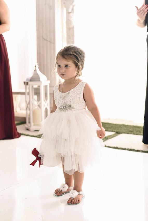 White Boho Dress, Crochet Flower Girl Dress, Roman