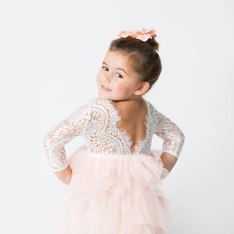 d28d616b35c9 White Lace Flower Girl Dress Blush Tulle Long Sleeve bohemian