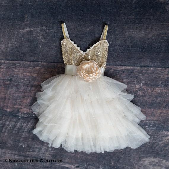 97691b34d4 Gold Flower Girl Dress Gold Sequin Flower Girl Dress Ivory | Etsy