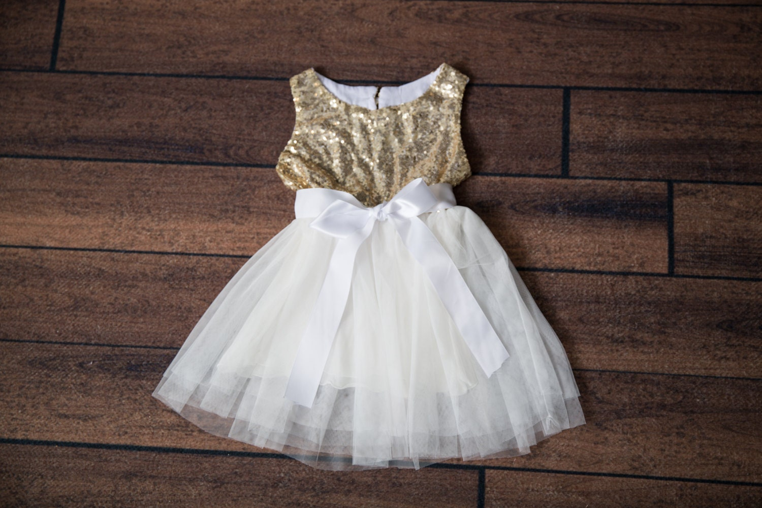 White Tulle Flower Girl Dress Gold Sequin Dress White Tulle Etsy