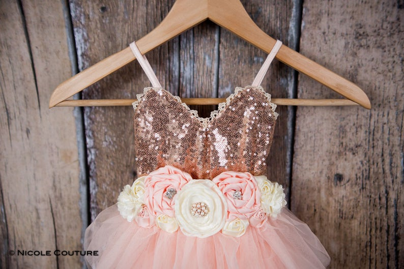 1ff69ca70ef Rose Gold Sequin Flower Girl Dress Blush Pink Tulle Wedding