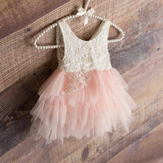 Ivory Lace Flower Girl Dress, Blush Pink Tulle Wedding Gown, Cream Wedding Tutu, Boho Chic Beach Wedding, Bohemian Backless Gown