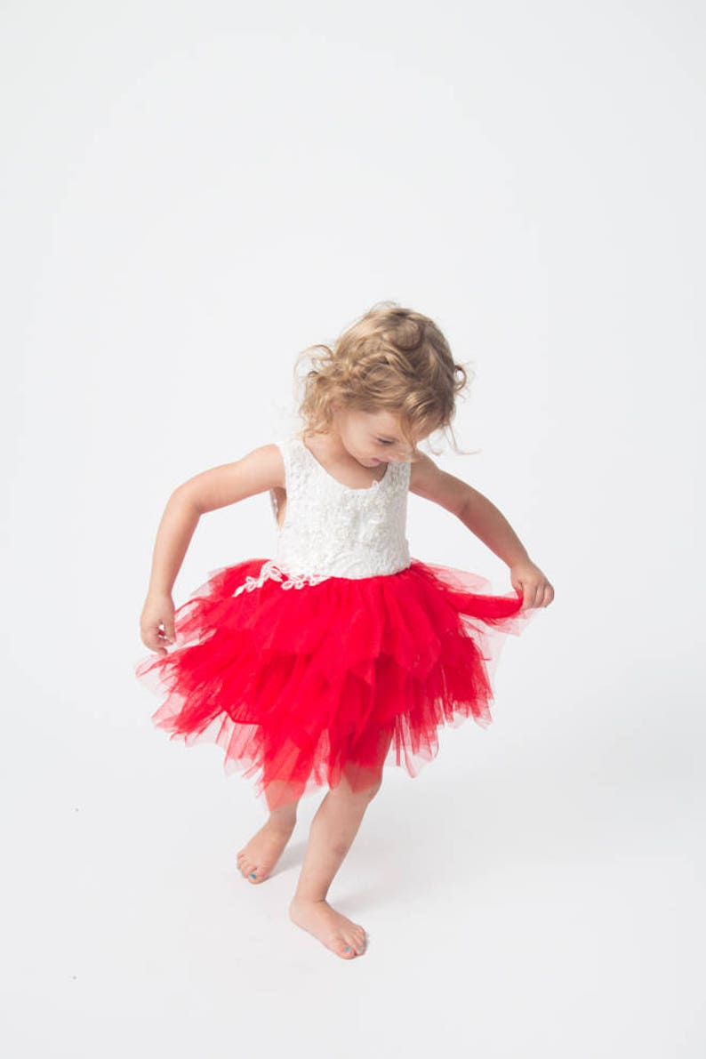 c2efca8cc1b White Lace Flower Girl Dress Red Tulle Daddy Daughter Dance