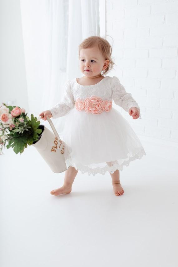 Weisse Blumen Taufe Kleid Boho Spitze Babykleid Langarm Baby Etsy