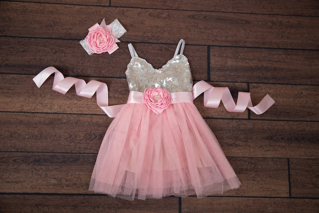 Pink Flower Girl Dress Ball Gown Silver Sequin Dress Pale Pink