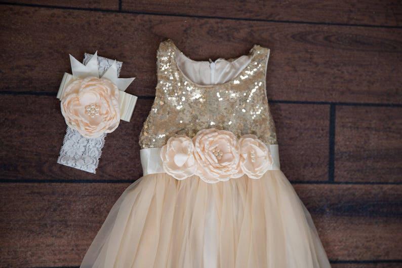 Flower Girl Proposal Boho Chic Beach Ivory Flower Girl Dress Cream Sequin Gown Romantic Bohemian Champagne Tulle Princess Dress