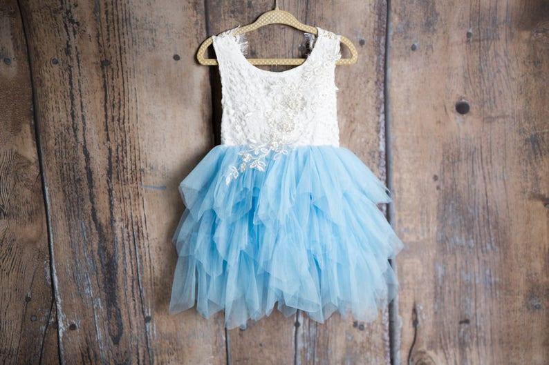 b84d2bed98c Blue Lace Flower Girl Dress Powder Blue Wedding dress Baby
