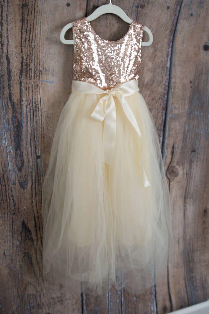 6101668b6d4 Ivory Cream Flower Girl Dress Boho Chic Rose Gold Sequin