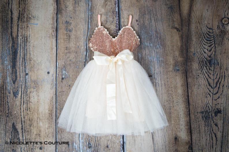 65e12fa79a Rose Gold Sequin Flower Girl Dresses Ivory Tulle Wedding | Etsy