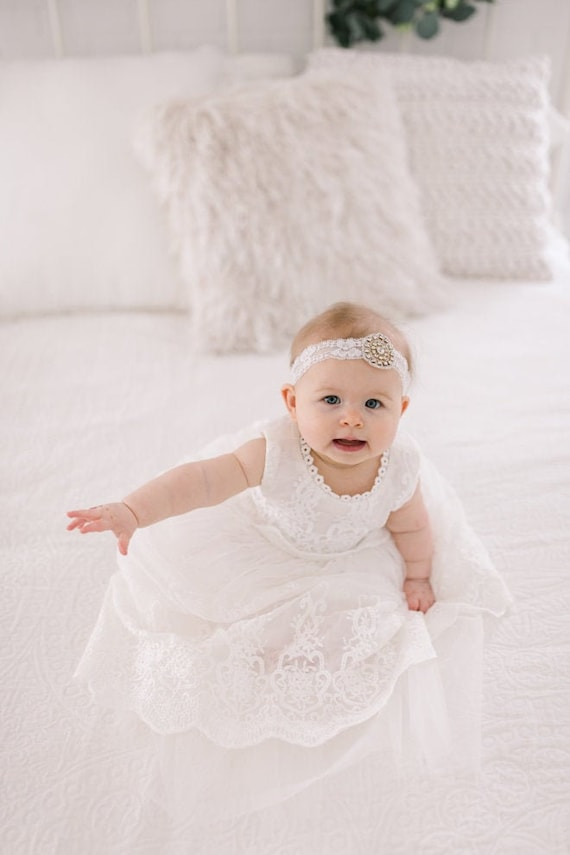 107fd151936e9 Christening Gown, White Newborn Baby Dress, Newborn Lace Flower Girl Dress,  Boho Chic, 3 months - 24 months, Baptism Infant, Birthday