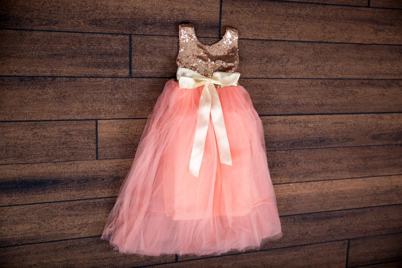Rose Gold Flower Girl Dress Rose Gold Sequin Top Floor Etsy