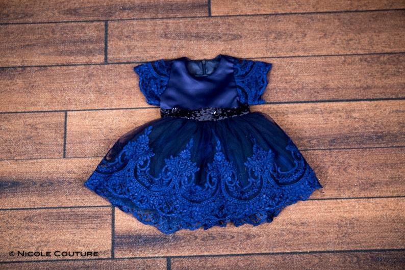 67bac4c9cc17 Navy Blue Infant Lace Flower Girl Dress Toddler Sequin