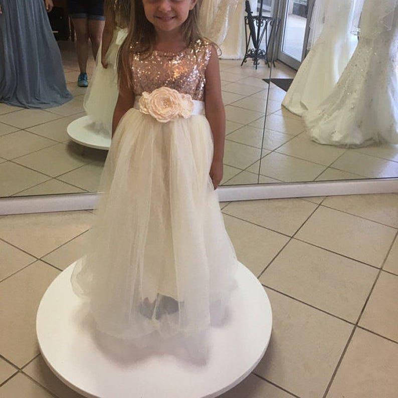 Cream Tulle Flower Girl Dress Rose Gold Blush Sequin Wedding Etsy