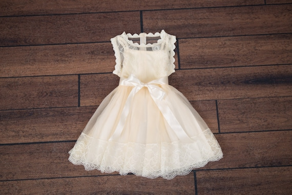 Cream Tulle Flower Girl Dress Champagne Lace Rustic Wedding Gown Yellow Tutu Dress Boho Chic Dress Country Wedding
