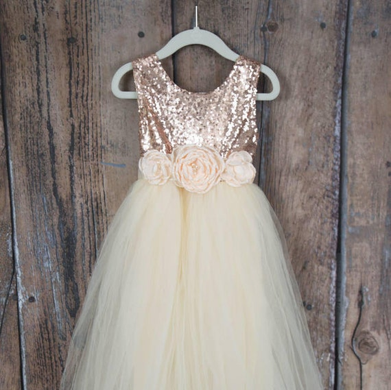 634401e3f6b2 Cream Rulle Flower Girl Dress Boho Chic Rose Gold Sequin | Etsy