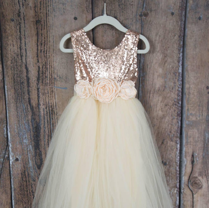 be02728f598 Cream Rulle Flower Girl Dress Boho Chic Rose Gold Sequin