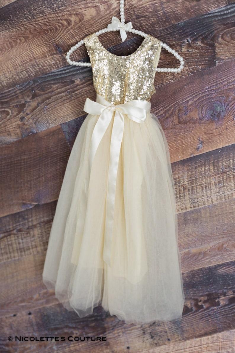 29fccd901e1 Ivory Tulle Flower Girl Dresses Gold Sequin Wedding Ball