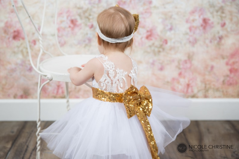 5547a25491a White Lace Infant Flower Girl Dress Baby Gold Sequin Wedding