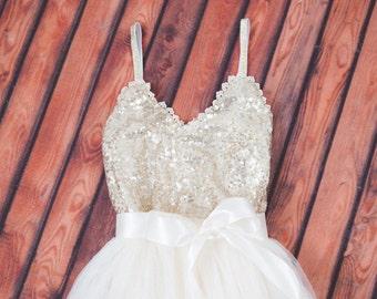 Romantic Gold Flower Girl Dress, Tulle Girls Dresses, Bohemian Ivory Wedding Dress