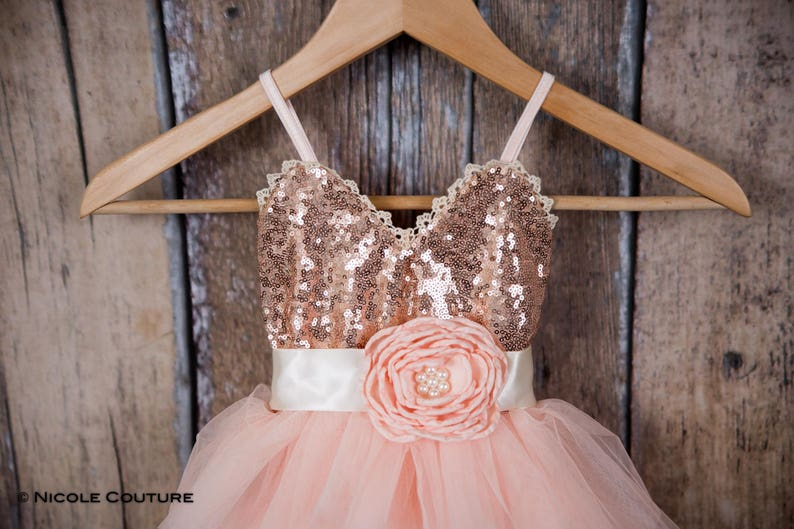 f0b1499f659 Rose Gold Sequin Dress Blush Pink Tulle Flower Girl Dress
