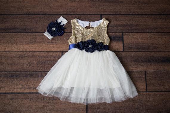 Navy Flower Girl Dress, Gold sequin dress, White Tulle, Gold Navy Pink Boho Chic Country, Sash Headband Belt, White Wedding