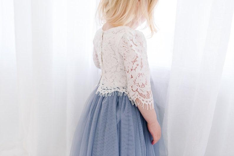 Slate Charcoal Blue Dusty Gray High Waisted Boho Beach Wedding Bohemian Tulle Two Piece Tutu Skirt White Lace Flower Girl Dress Buttons