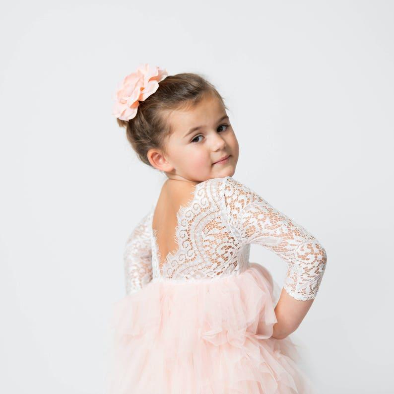 65dec8debce White Lace Flower Girl Dress Blush Tulle Long Sleeve bohemian