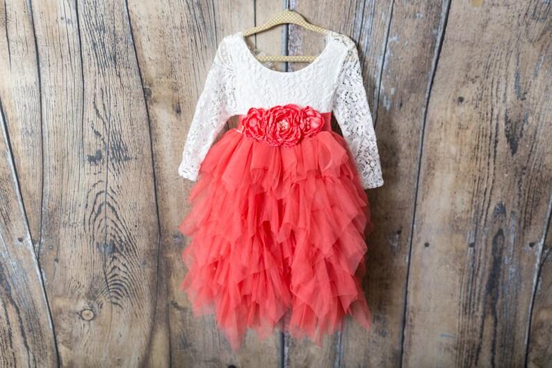 767a32329f6 Dentelle blanche fleur fille robe robe de mariage Tulle pêche