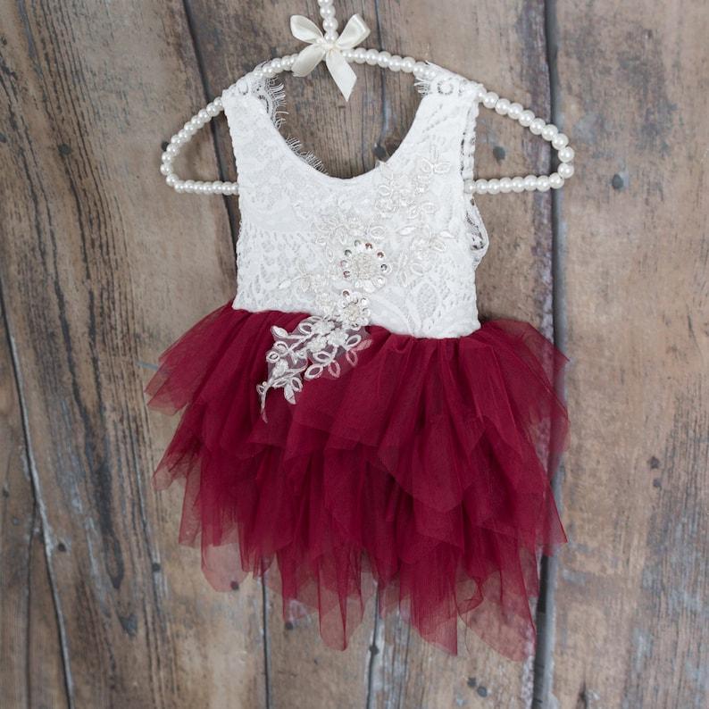 c4c01542962 White Lace Infant Flower Girl Dress Maroon Wedding dress