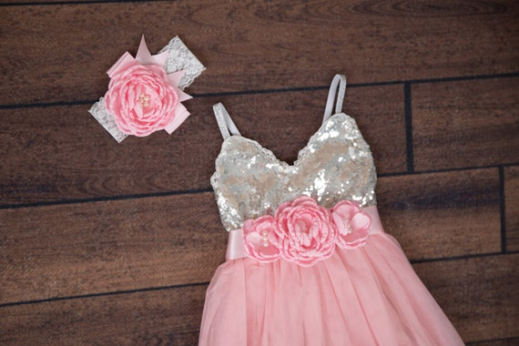 Pink Flower Girl Dress Ball Gown Silver Sequin Dress Pale Etsy