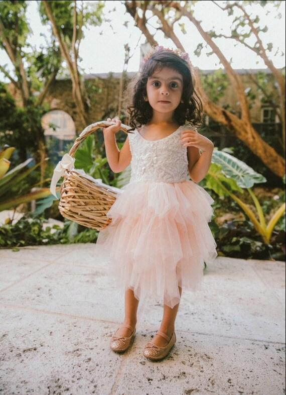 Boho Lace Infant Flower Girl Dress, Blush Pink Tul