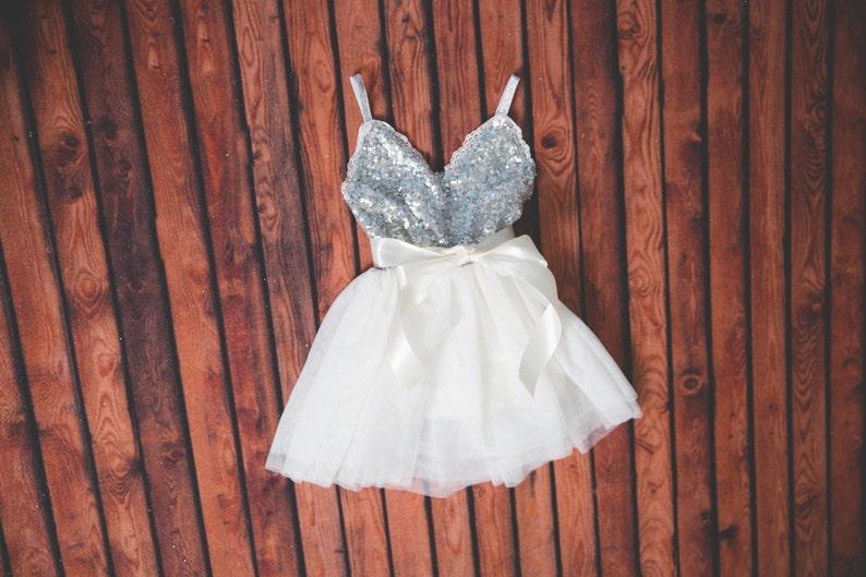 8382c1f764 Silver Sequin White Tulle Flower Girl Dress Gray Bohemian | Etsy