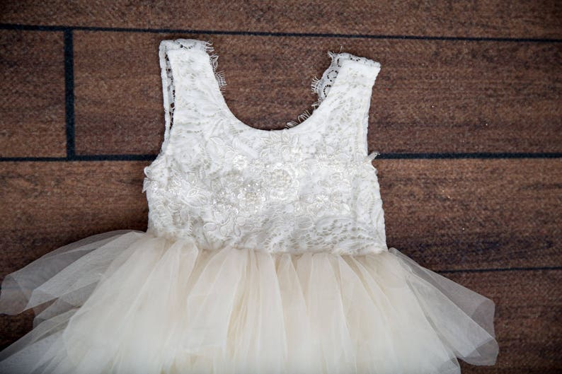 2561e7c338 White Lace Infant Flower Girl Dress Baby Ivory Tulle simple