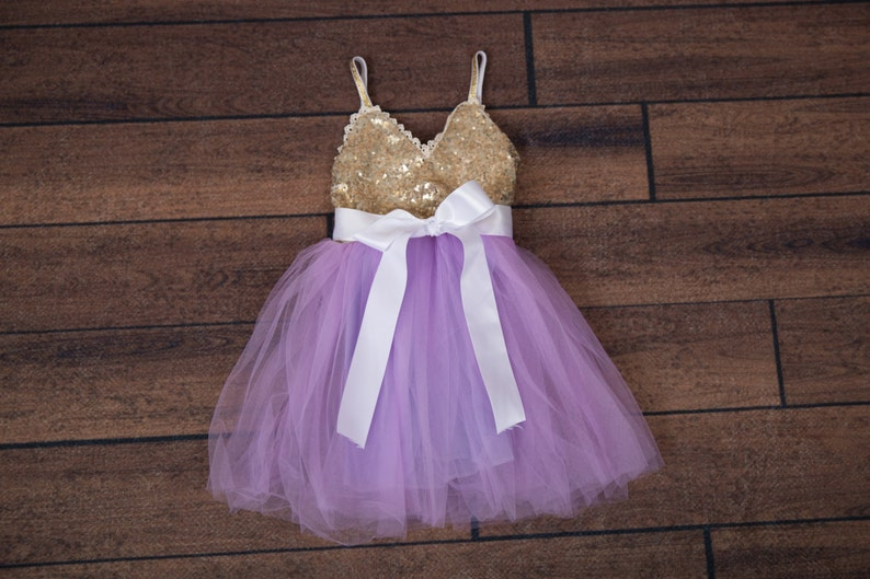 68dcc8ae41 Purple Tulle Flower Girl Dress Lavender Ball Gown Gold